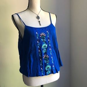 Roxy Royal Blue Embroidered Crop Tank -Small